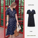 Dress Summer 2021 Navy Blue S,M,L,XL Mid length dress singleton  Short sleeve commute V-neck High waist Broken flowers zipper A-line skirt puff sleeve Others 18-24 years old Type A Korean version Printing, stitching, bowknot, tuck, lace, ruffle, drape, bandage 31% (inclusive) - 50% (inclusive)