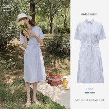 Dress Summer 2020 Blue, black S,M,L,XL Mid length dress singleton  Short sleeve commute Polo collar High waist Single breasted shirt sleeve Others Type A Other / other Korean version 51% (inclusive) - 70% (inclusive) cotton