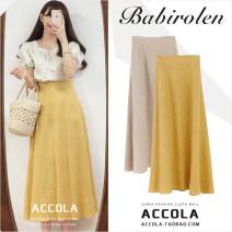 skirt Summer 2020 S,M,L,XL Khaki, yellow, shirt longuette Versatile High waist A-line skirt Solid color Type A 18-24 years old Other / other hemp Frenulum