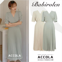 Dress Summer 2020 Yellow, mint green S,M,L,XL longuette singleton  Short sleeve commute V-neck High waist Solid color zipper Pleated skirt routine 18-24 years old Other / other Korean version Bowknot, tuck, fold, tie, splice, tie Chiffon