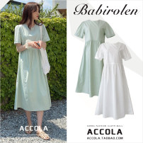 Dress Summer 2020 White, mint green S,M,L,XL Mid length dress singleton  Short sleeve commute Crew neck Loose waist Solid color zipper A-line skirt routine 18-24 years old Type A Other / other Korean version zipper