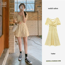 Dress Summer 2021 Yellow short, yellow long S,M,L,XL Middle-skirt singleton  Short sleeve commute V-neck High waist Solid color Three buttons A-line skirt puff sleeve Others Type A Korean version 31% (inclusive) - 50% (inclusive) Crepe de Chine polyester fiber