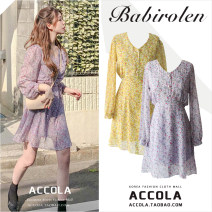 Dress Autumn 2020 Yellow, purple S,M,L,XL Short skirt singleton  Long sleeves commute V-neck High waist Broken flowers Three buttons A-line skirt other Others 18-24 years old Type A Other / other Korean version Frenulum Chiffon polyester fiber