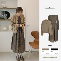 Dress Winter 2020 Brown sweater, floral skirt_ Belt S,M,L,XL Mid length dress Two piece set Long sleeves commute Crew neck High waist Broken flowers zipper Big swing puff sleeve 18-24 years old Other / other Korean version Print, tie, tie Chiffon
