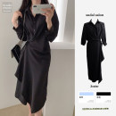Dress Autumn 2020 Blue, black S,M,L,XL Mid length dress singleton  Long sleeves commute Polo collar High waist Solid color Single breasted Irregular skirt shirt sleeve Others Type A Other / other Korean version 31% (inclusive) - 50% (inclusive) polyester fiber