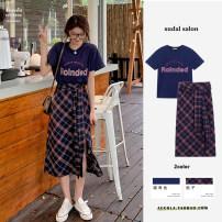 Fashion suit Summer 2021 S,M,L,XL Tibetan plaid skirt, Tibetan T-shirt, pink T-shirt, black and white plaid skirt 18-25 years old 31% (inclusive) - 50% (inclusive) polyester fiber