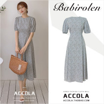 Dress Summer 2020 Picture color S,M,L,XL longuette singleton  Short sleeve commute Crew neck High waist Broken flowers zipper A-line skirt puff sleeve 18-24 years old Other / other Korean version Lace, lace, stitching, bandage, zipper, printing
