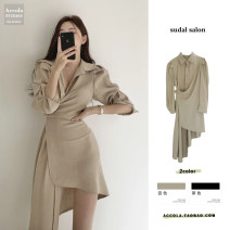 Dress Spring 2021 Apricot, black S,M,L longuette singleton  Long sleeves commute Polo collar High waist Solid color Single breasted Irregular skirt shirt sleeve 18-24 years old Korean version Ruffles, folds, lacing, stitching brocade cotton