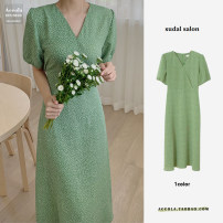 Dress Summer 2021 green S,M,L,XL Mid length dress singleton  Short sleeve commute V-neck middle-waisted Broken flowers zipper One pace skirt routine Others 18-24 years old Type A Korean version Button, tie, strap 31% (inclusive) - 50% (inclusive) Chiffon polyester fiber
