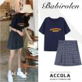 skirt Summer 2020 XS,S,M,L,XL Navy T-shirt, grey purple check Short skirt commute High waist A-line skirt lattice Type A Korean version
