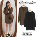 Dress Autumn of 2019 Black, brown S,M,L,XL Short skirt singleton  Long sleeves commute Doll Collar High waist Solid color Single breasted A-line skirt puff sleeve Others 18-24 years old Type H Other / other Retro Frenulum 31% (inclusive) - 50% (inclusive) other cotton