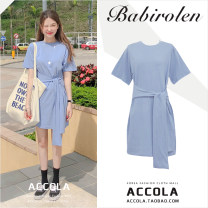 Dress Summer of 2019 blue S,M,L Short skirt singleton  Short sleeve commute Crew neck High waist Solid color Socket A-line skirt routine Others 18-24 years old Type A Other / other Korean version Frenulum cotton