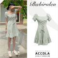 Dress Summer 2020 Light green S,M,L,XL Short skirt singleton  Short sleeve commute square neck High waist Solid color A-line skirt puff sleeve 18-24 years old Other / other Korean version Bow, ruffle, tuck, lace, stitching cotton
