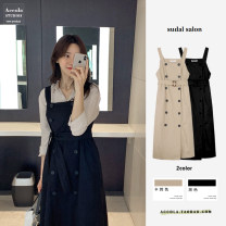 Dress Autumn 2020 Black, Khaki S,M,L,XL Mid length dress singleton  Sleeveless commute square neck High waist Solid color double-breasted A-line skirt other straps 18-24 years old Other / other Korean version Pockets, panels, buttons brocade