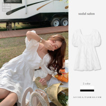 Dress Summer 2020 White [short], white [long], black [short], black [long] S,M,L,XL,2XL,3XL Short skirt singleton  Short sleeve commute square neck High waist Solid color Socket A-line skirt puff sleeve Others Type A Other / other Korean version 81% (inclusive) - 90% (inclusive) Chiffon