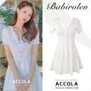 Dress Summer of 2019 milky white S,M,L,XL Short skirt singleton  Short sleeve commute V-neck High waist Solid color Single breasted A-line skirt puff sleeve Others 18-24 years old Type A Other / other Korean version Lotus leaf edge