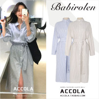 Dress Spring of 2018 Blue, apricot XL,L,M,S longuette singleton  Long sleeves stand collar stripe Single breasted other routine Others 31% (inclusive) - 50% (inclusive) other other
