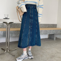 skirt Winter 2020 S,M,L,XL Dark blue, light blue longuette commute High waist A-line skirt Solid color Type A 18-24 years old 51% (inclusive) - 70% (inclusive) Denim Other / other cotton pocket Korean version