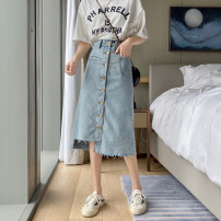 skirt Summer 2020 S,M,L Nostalgic blue Mid length dress Versatile High waist A-line skirt Solid color Type A 18-24 years old 613# 51% (inclusive) - 70% (inclusive) Denim Other / other cotton