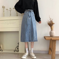 skirt Spring 2021 S,M,L,XL Blue, no free waistline Mid length dress commute High waist A-line skirt lattice Type A 18-24 years old 31% (inclusive) - 50% (inclusive) Denim polyester fiber Pocket, zipper Korean version