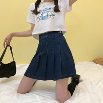 skirt Spring 2021 S,M,L,XL navy blue Short skirt commute High waist Pleated skirt Solid color Type A 18-24 years old 71% (inclusive) - 80% (inclusive) Denim Other / other cotton Korean version