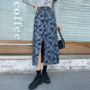 skirt Autumn 2020 S,M,L,XL blue Mid length dress commute High waist A-line skirt Solid color Type A 18-24 years old 51% (inclusive) - 70% (inclusive) Denim Other / other cotton Korean version