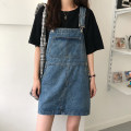 Dress Summer 2020 blue S,M,L,XL Short skirt singleton  Sleeveless commute other High waist Solid color Socket A-line skirt other straps 18-24 years old Type A Other / other Korean version 71% (inclusive) - 80% (inclusive) Denim cotton