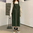 Dress Winter 2020 Green, light card S,M,L longuette singleton  Sleeveless commute other Loose waist Solid color Socket A-line skirt other straps 18-24 years old Type H Other / other Korean version pocket 51% (inclusive) - 70% (inclusive) corduroy cotton