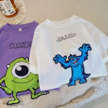 T-shirt White, purple Other / other 80cm,90cm,100cm,110cm,120cm,130cm male spring and autumn Long sleeves Crew neck Cartoon animation 12 months, 18 months, 2 years old, 3 years old, 4 years old, 5 years old, 6 years old, 7 years old, 8 years old