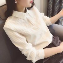 shirt S M L XL Spring of 2018 cotton 96% and above Long sleeves commute Regular Doll Collar Single row multi button routine Straight cylinder Korean version 00001
