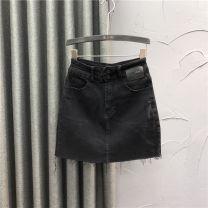 skirt Autumn 2020 S,M,L,XL,2XL black Short skirt Versatile High waist A-line skirt Solid color Type A LD20201165 71% (inclusive) - 80% (inclusive) Denim Other / other cotton Pocket, button