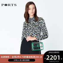 shirt BLACK PRINT 2,4,6,8,10,12 Spring of 2019 silk 91% (inclusive) - 95% (inclusive) Long sleeves commute other Single row multi button routine other 25-29 years old Straight cylinder Ports Ol style LN8B084HPS042