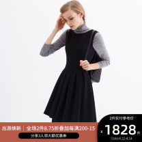 Dress Winter 2016 Middle-skirt singleton  Sleeveless commute Crew neck High waist Solid color zipper Pleated skirt 30-34 years old Type A Ports Simplicity fold LB9D045BWB008 71% (inclusive) - 80% (inclusive) Cellulose acetate