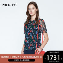 shirt NAVY PRINT 2,4,6,8,10,12,14 Summer of 2019 silk 96% and above Short sleeve Versatile Lotus leaf collar Socket routine other 25-29 years old Self cultivation Ports LN8B068HPS069