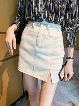 skirt Spring 2021 S,M,L Blue, white Short skirt Versatile High waist A-line skirt Solid color Type A 18-24 years old 30% and below other Other / other