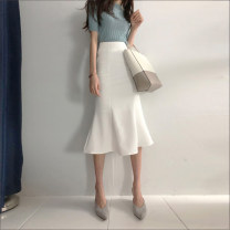 skirt Summer 2021 S,M,L,XL White, black Mid length dress commute High waist Ruffle Skirt Solid color Type A 18-24 years old 31% (inclusive) - 50% (inclusive) Other / other Korean version