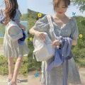 Dress Summer 2020 Decor S,M,L,XL Middle-skirt singleton  Short sleeve commute V-neck High waist Broken flowers Single breasted A-line skirt routine Others 18-24 years old Type A Other / other Korean version 31% (inclusive) - 50% (inclusive) Chiffon