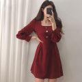 Dress Spring 2021 Red, black S,M,L,XL Short skirt singleton  Long sleeves commute square neck High waist Solid color Socket A-line skirt bishop sleeve Others 18-24 years old Type A Other / other Korean version Button Chiffon