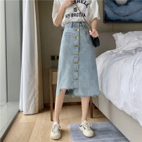 skirt Summer 2020 S,M,L Nostalgic blue Mid length dress Versatile High waist A-line skirt Solid color Type A 18-24 years old 31% (inclusive) - 50% (inclusive) Other / other