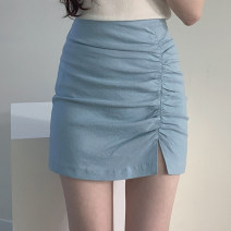 skirt Summer 2020 S,M,L,XL Blue, black, light apricot Short skirt commute High waist skirt Solid color Type A 18-24 years old 31% (inclusive) - 50% (inclusive) Other / other Korean version
