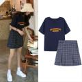 skirt Summer of 2019 S,M,L,XL Navy T-shirt, grey purple check Short skirt commute High waist A-line skirt lattice Type A Other / other Korean version