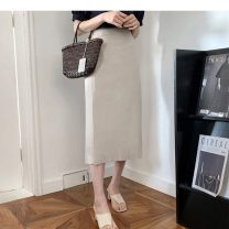 skirt Summer 2020 S,M,L,XL Apricot, white Mid length dress commute High waist A-line skirt Solid color Type A 18-24 years old 31% (inclusive) - 50% (inclusive) Other / other Korean version