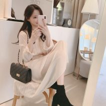 Dress Autumn of 2019 Apricot S,M,L,XL Mid length dress singleton  Long sleeves commute Crew neck High waist Solid color Socket A-line skirt pagoda sleeve Others 18-24 years old Type A Other / other Korean version 31% (inclusive) - 50% (inclusive) Chiffon other