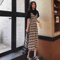 Dress Summer 2021 S,M,L Mid length dress Two piece set Short sleeve commute V-neck High waist lattice Socket other other camisole 18-24 years old Type A Other / other Korean version 31% (inclusive) - 50% (inclusive) other other