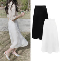 skirt Summer of 2019 S,M,L,XL White, black Mid length dress commute High waist A-line skirt Solid color Type A 18-24 years old Other / other zipper Korean version