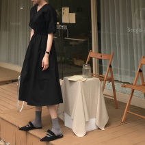 Dress Summer 2020 Green, black Average size longuette singleton  Short sleeve commute V-neck Elastic waist Solid color Others 18-24 years old Type A Other / other Korean version 31% (inclusive) - 50% (inclusive) cotton