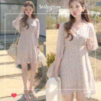 Dress Summer of 2019 Graph color S,M,L,XL Middle-skirt singleton  Short sleeve commute V-neck High waist Decor Socket A-line skirt other Others 18-24 years old Type A Other / other Korean version 81% (inclusive) - 90% (inclusive) Chiffon