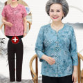 Middle aged and old women's wear Summer of 2019 L (recommended below 95 kg), XL (recommended 100-110 kg), 2XL (recommended 110-125 kg), 3XL (recommended 125-140 kg), 4XL (recommended 140-160 kg) fashion shirt easy Two piece set Decor Over 60 years old Cardigan moderate Crew neck routine routine