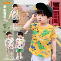 T-shirt White, blue, gold, white deer, light blue dog car, royal blue collar seal English, yellow letters, gray collar seal crab, yellow dinosaur, cowboy blue cactus, royal blue cement car Siliba 90cm,100cm,110cm,120cm,130cm male summer Short sleeve Crew neck Korean version nothing cotton Cotton 100%
