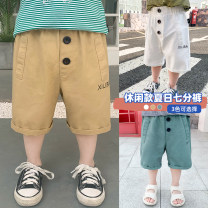 trousers Siliba male 90cm,100cm,110cm,120cm,130cm Apricot, white, green summer Cropped Trousers leisure time There are models in the real shooting Leather belt middle-waisted Don't open the crotch Cotton 100% Class B